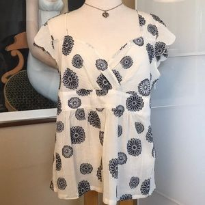 Anthropologie odille ivory & navy floral blouse
